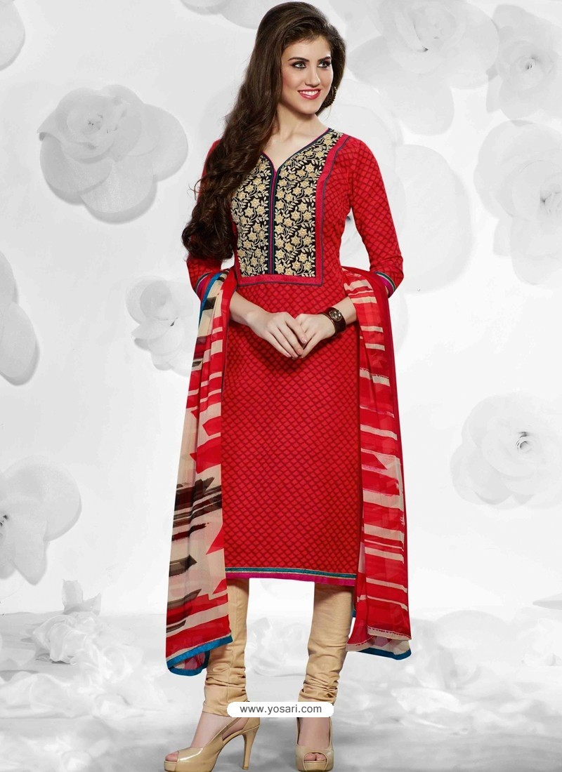 Red And Cream Cotton Churidar Suit