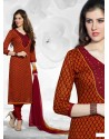 Red And Mustrad Cotton Churidar Suit