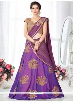 Vibrant Lace Work Art Silk Lehenga Choli