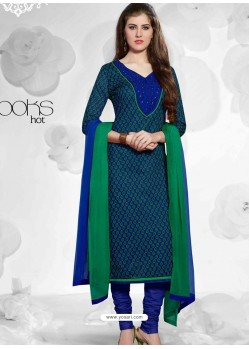 Blue And Green Cotton Churidar Suit
