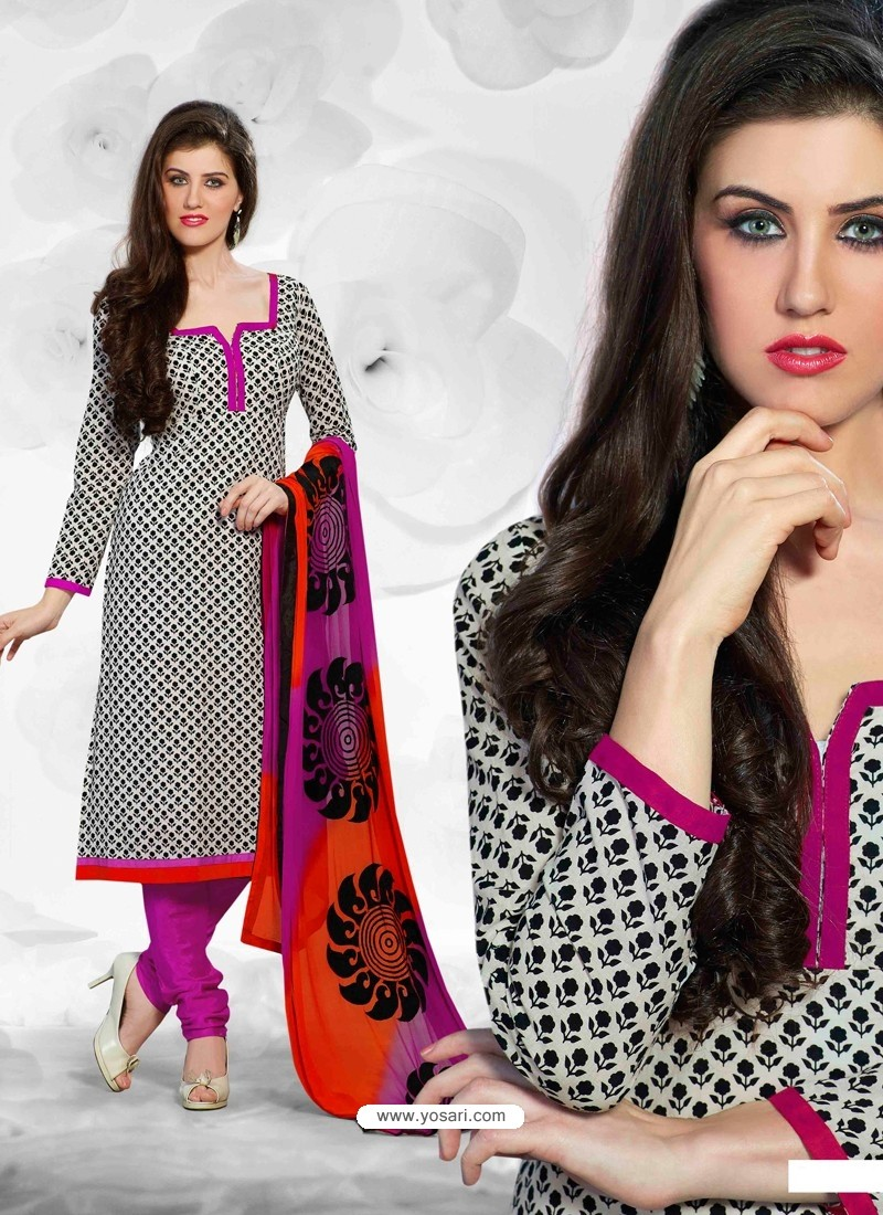 Black And Pink Cotton Churidar Suit