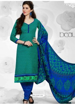 Green And Blue Cotton Churidar Suit