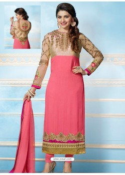 Pink And Cream Georgette Churidar Suit