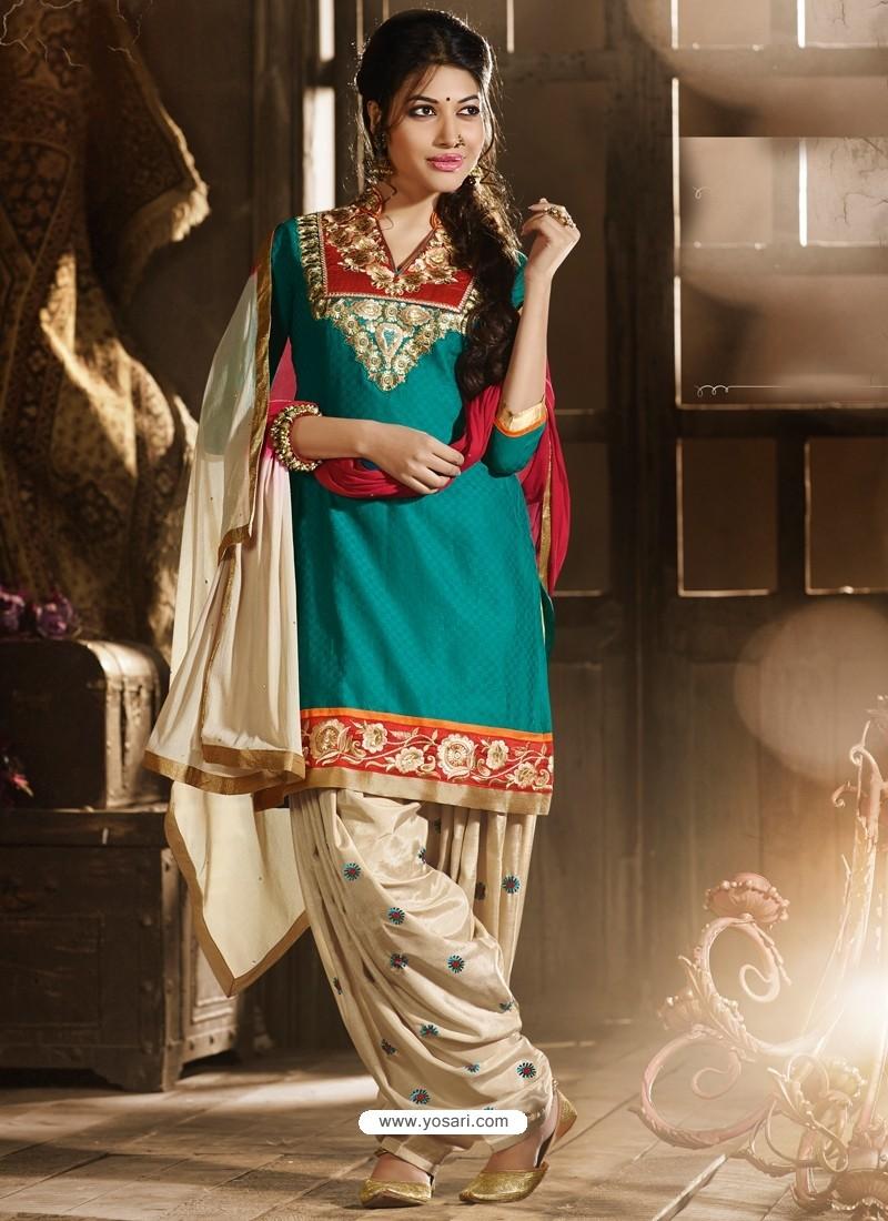 Green And Cream Chanderi Pakistani Suits