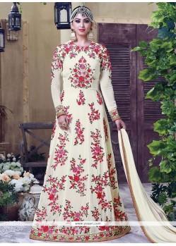 Appealing Cream Stone Work Faux Georgette Designer Floor Length Suit