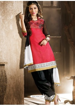 Red And Black Chanderi Punjabi Patiala Suit