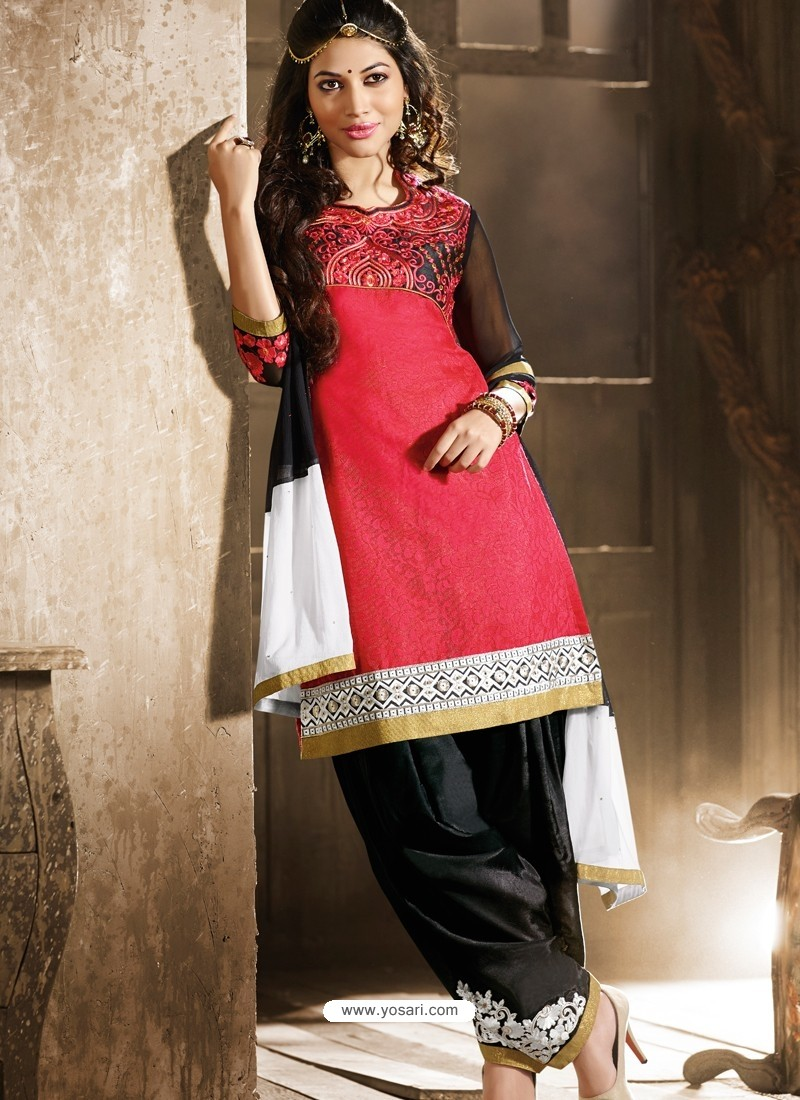 Red And Black Chanderi Pakistani Suits