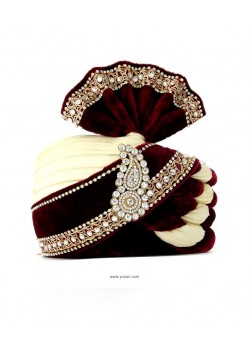 Ready To Wear Maroon & Cream Indian Wedding Paghdi