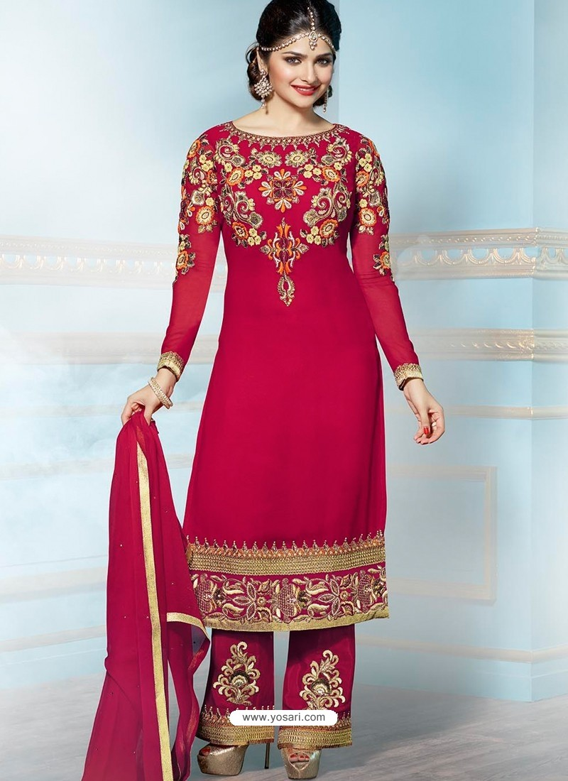 Maroon Georgette Churidar Suit