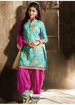 Pink And Green Chanderi Punjabi Patiala Suit