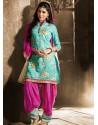 Pink And Green Chanderi Pakistani Suits