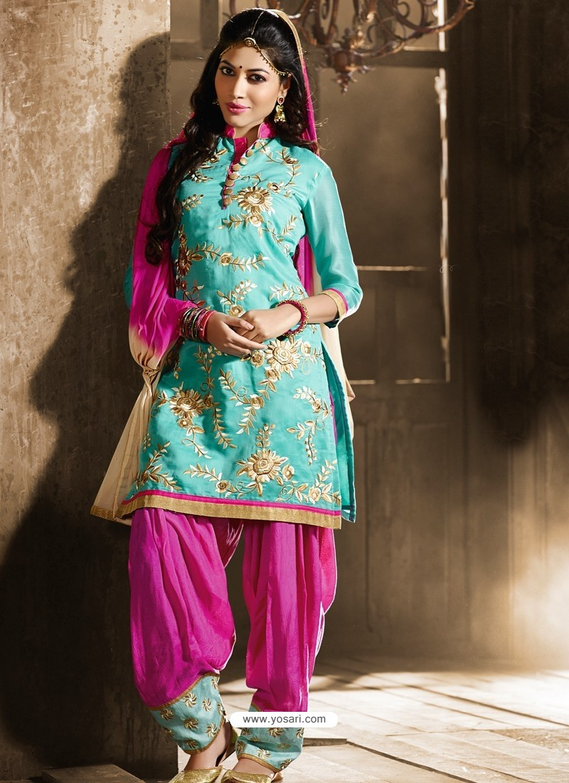 f261759bf3 Pink And Green Chanderi Punjabi Patiala Suit | Punjabi Suit online