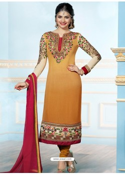 Mustard Georgette Churidar Suit