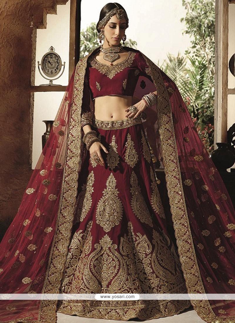 6eb10d0567 Buy Especial Velvet Maroon Lehenga Choli   Wedding Lehenga Choli