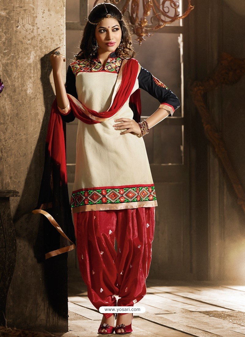 Multicolor Chanderi Pakistani Suits