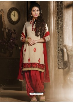 Cream And Red Chanderi Punjabi Patiala Suit