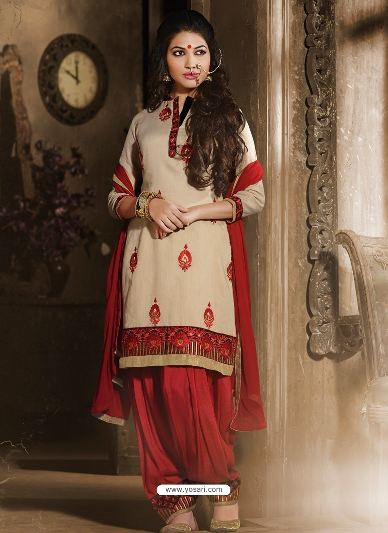 Cream And Red Chanderi Pakistani Suits