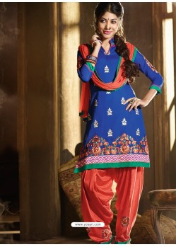 Blue And Orange Chanderi Punjabi Patiala Suit