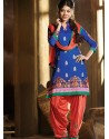 Blue And Orange Chanderi Pakistani Suits