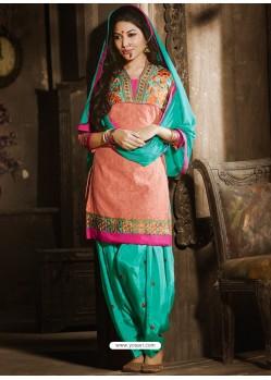 Orange And Green Chanderi Punjabi Patiala Suit