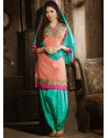 Orange And Green Chanderi Pakistani Suits