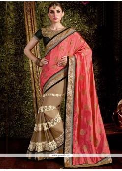 1ffacedc31 Buy Prime Pink Zari Work Net Lehenga Saree   Wedding Sarees