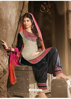 Grey And Black Chanderi Punjabi Patiala Suit