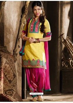 Yellow And Pink Chanderi Punjabi Patiala Suit
