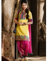 Yellow And Pink Chanderi Pakistani Suits