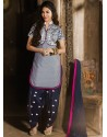Grey And Navy Blue Chanderi Pakistani Suits