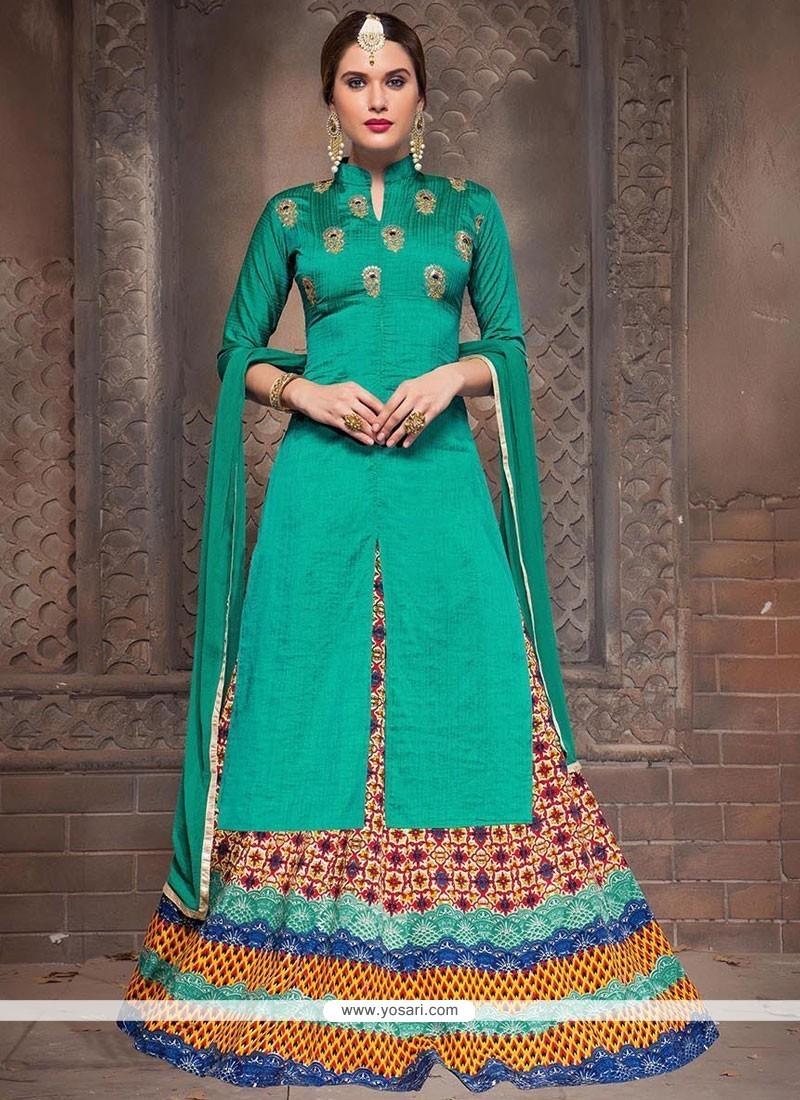 a16fae2cc9 Stupendous Bhagalpuri Silk Turquoise Embroidered Work Long Choli Lehenga