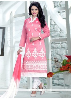 540e260f541 Buy Opulent Pink And White Embroidered Work Cotton Churidar Suit ...