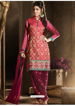 Pink And Maroon Chanderi Punjabi Patiala Suit