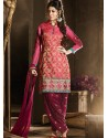 Pink And Maroon Chanderi Pakistani Suits