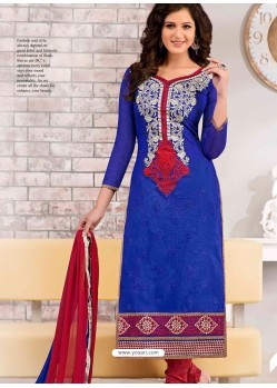 Blue And Maroon Chanderi Churidar Suit
