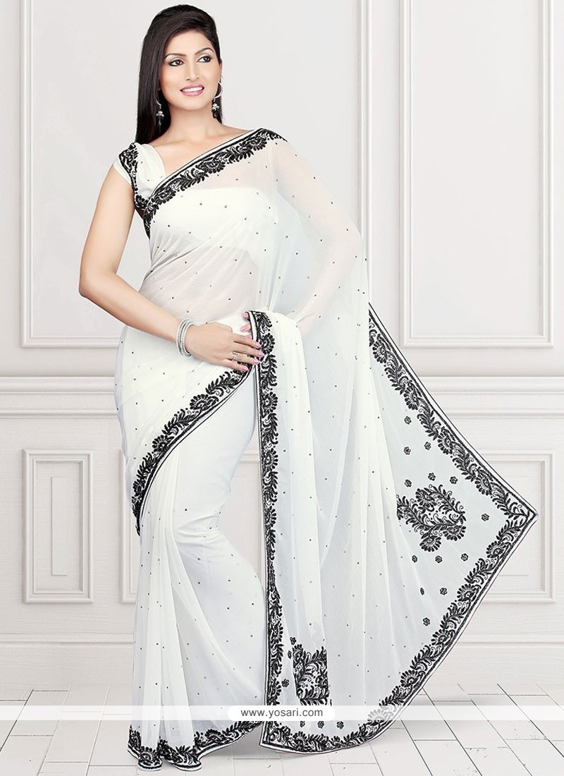 039c7ec21a Buy Dazzling Faux Chiffon White Designer Saree | Bridal Sarees