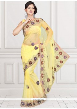 Heavenly Net Patch Border Work Classic Saree