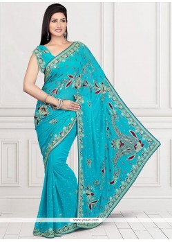 Impeccable Faux Chiffon Embroidered Work Designer Saree