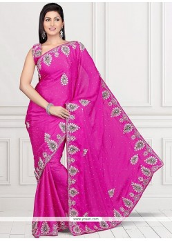 Beautiful Hot Pink Embroidered Work Classic Saree