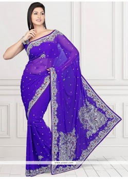 Tempting Blue Patch Border Work Faux Chiffon Saree