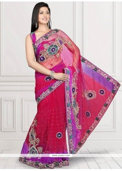 Exceeding Crystal Work Red Designer Saree