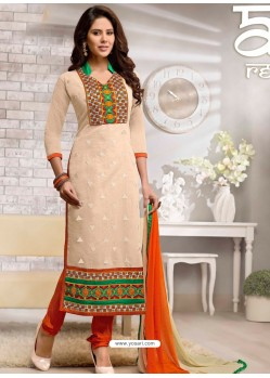 Cream And Orange Chanderi Churidar Suit
