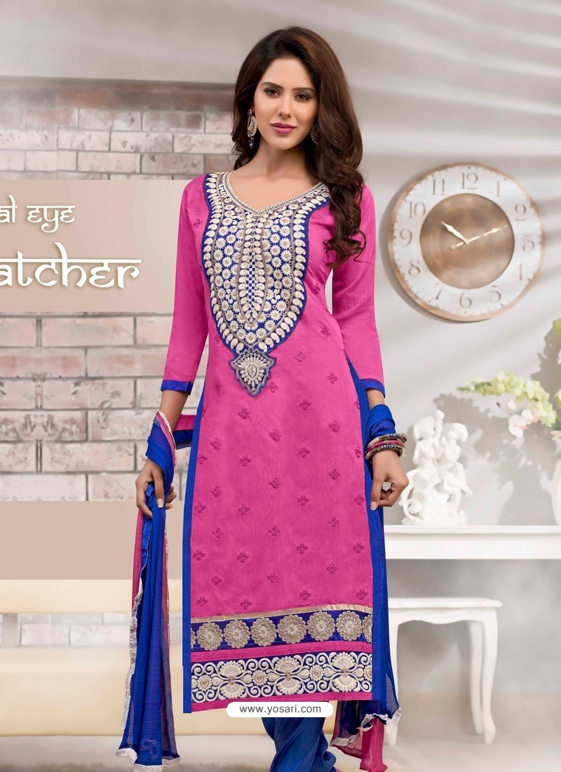 Pink And Blue Chanderi Churidar Suit