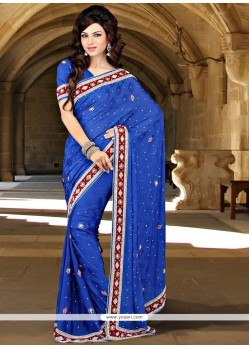 Magnificent Blue Patch Border Work Jacquard Classic Designer Saree