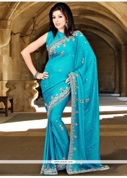 Breathtaking Chiffon Satin Blue Designer Saree