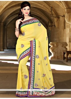 Excellent Faux Georgette Yellow Patch Border Work Classic Saree