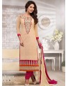 Cream And Pink Chanderi Churidar Suit