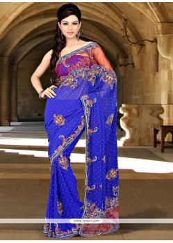Beckoning Faux Georgette Blue Saree