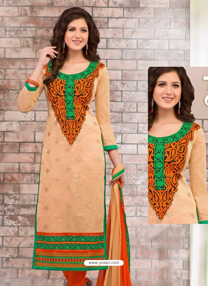 Orange Shade Chanderi Churidar Suit