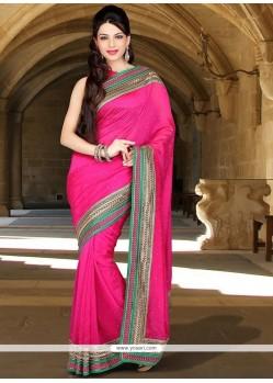 Dashing Crystal Work Hot Pink Classic Designer Saree